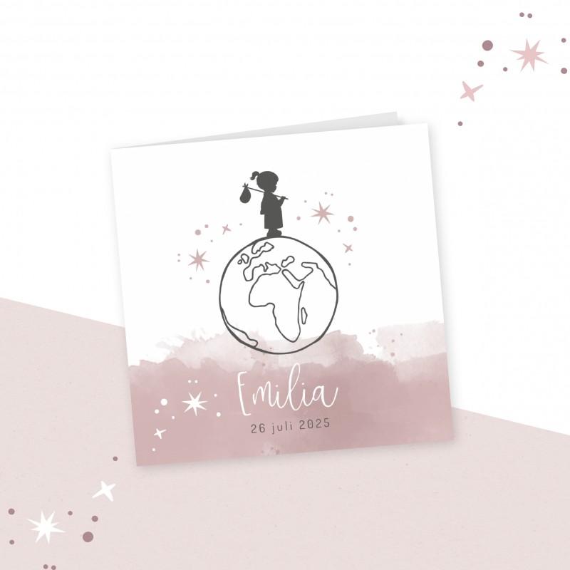 Geboortekaartje Silhouet met wereldbol