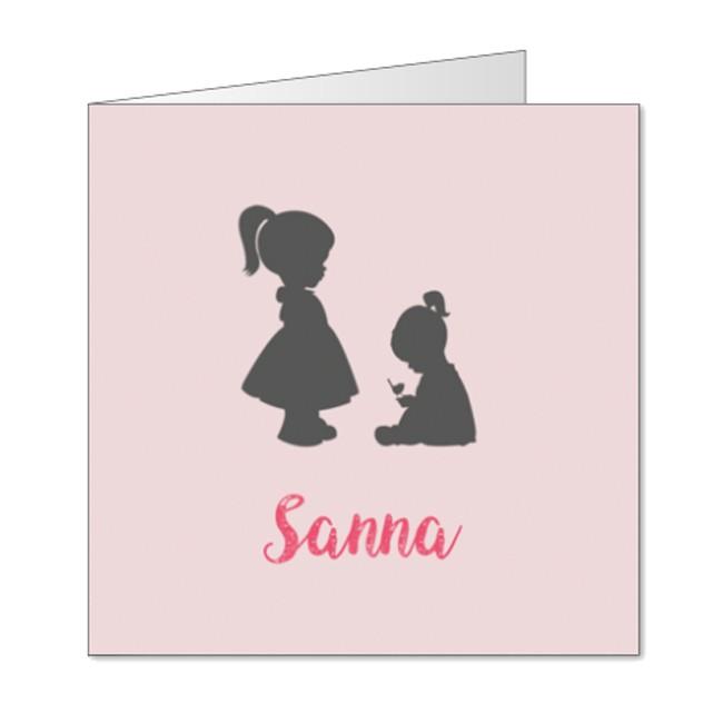Geboortekaartje Silhouet zusjes