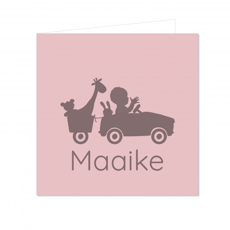 Geboortekaartje Silhouette meisje in auto