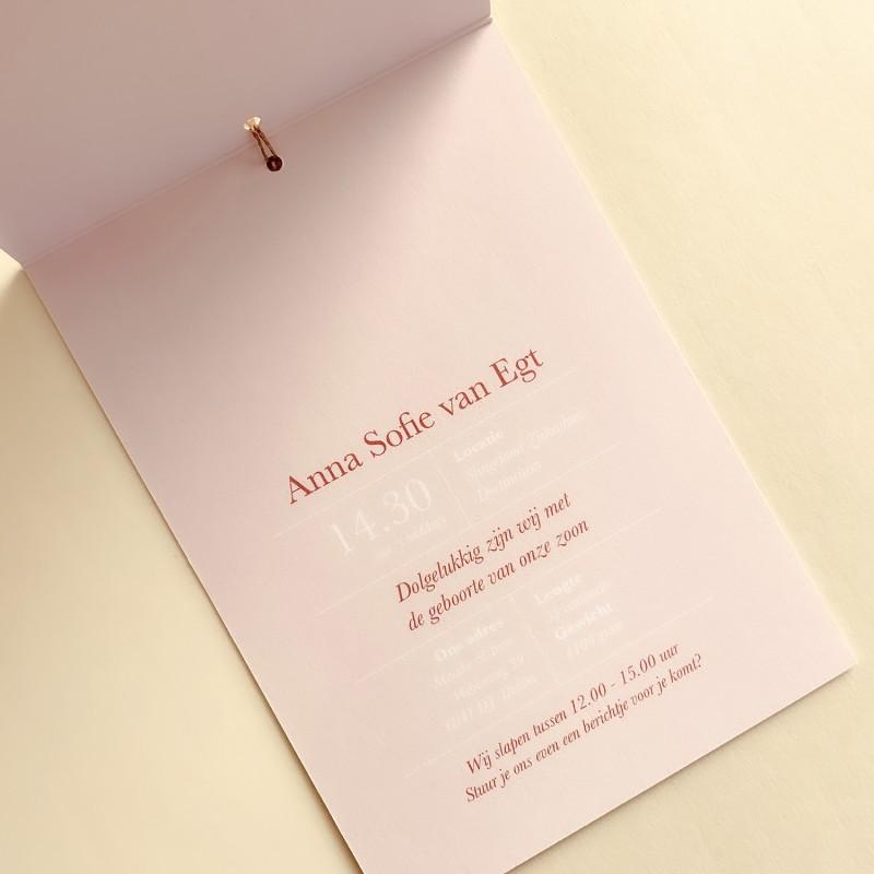 Geboortekaartje staand kaartje - oudroze