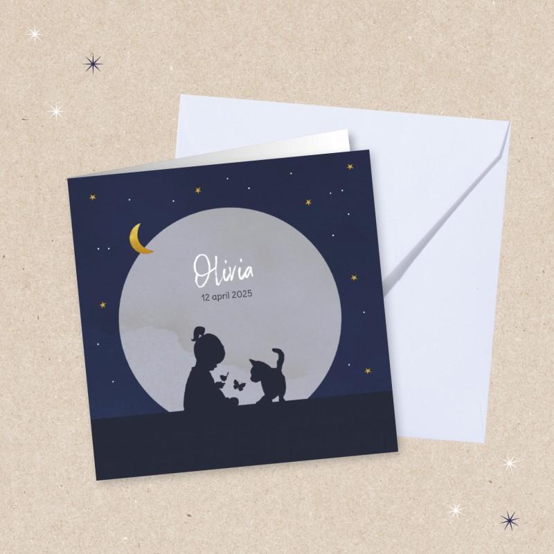 Geboortekaartje Sterren en silhouet