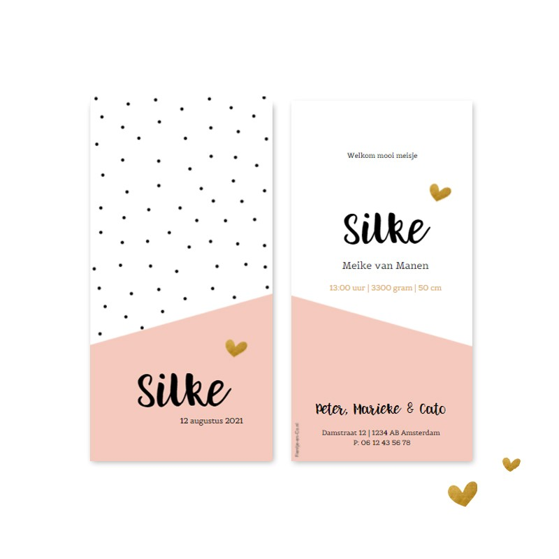 Geboortekaartje Stipjes roze vlak