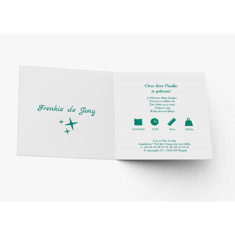 Geboortekaartje Stoere kaart groen