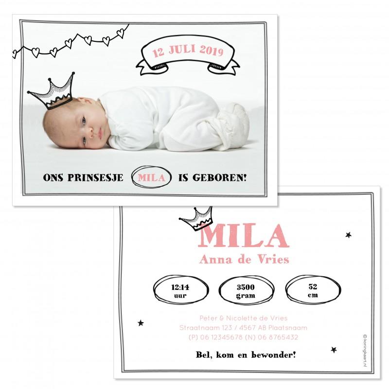 Geboortekaartje Tekeningetjes op foto