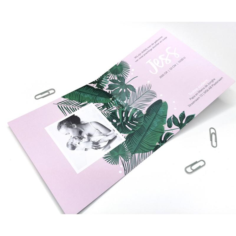 Geboortekaartje Tropisch met bladeren