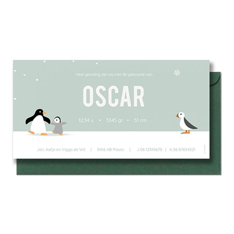 Geboortekaartje Twee pinguïns
