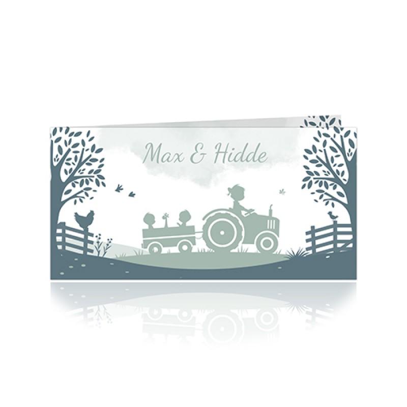 Geboortekaartje tweeling achter tractor
