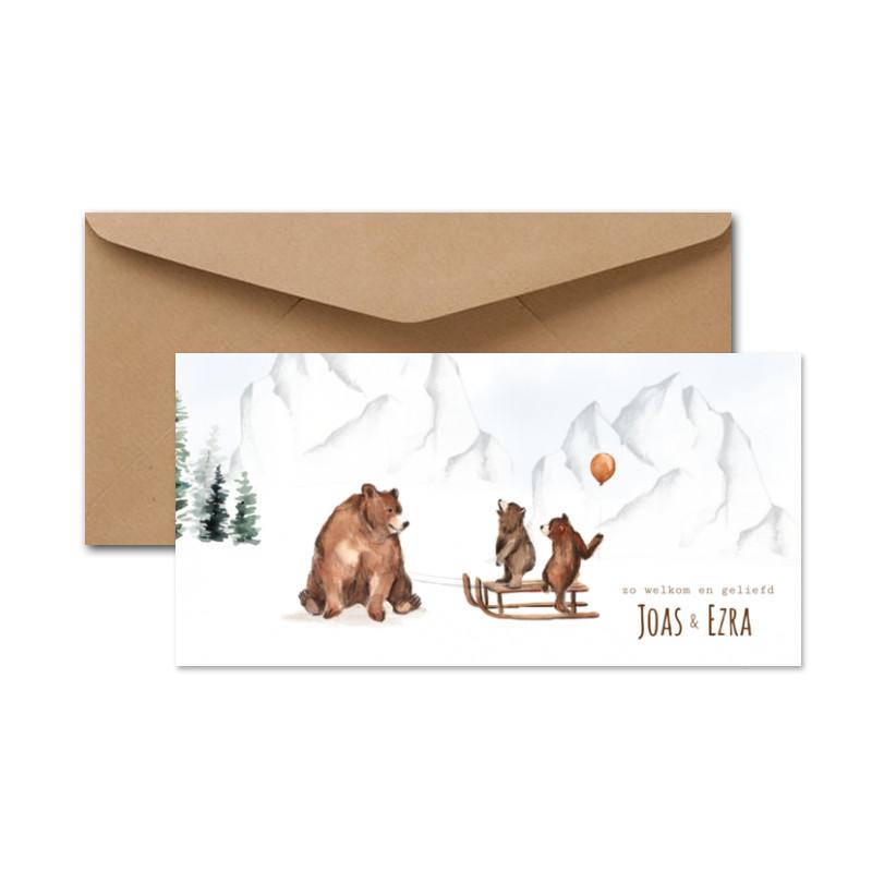 Geboortekaartje Tweeling beren sneeuw