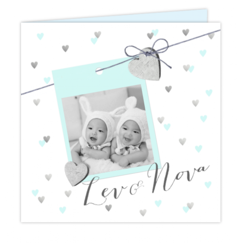 Geboortekaartje Tweeling Foto kaartje