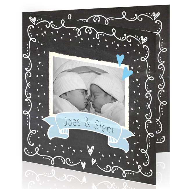Geboortekaartje Tweeling krijtbord