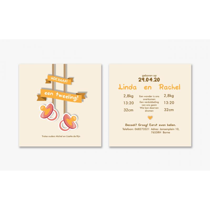 Geboortekaartje Tweeling meisjes kaart