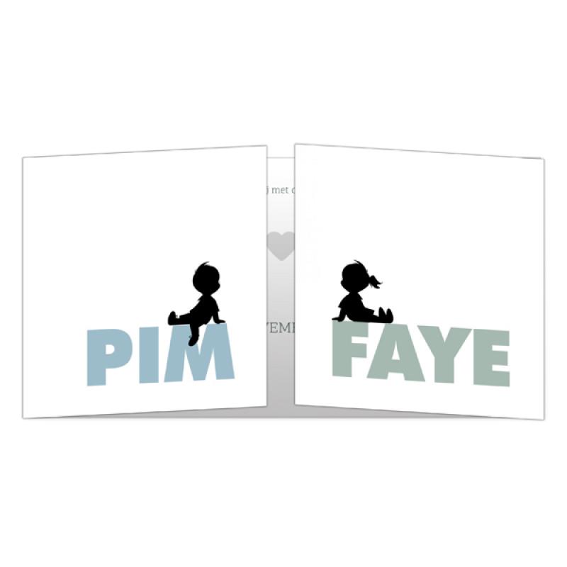 Geboortekaartje Tweeling op tweeluik