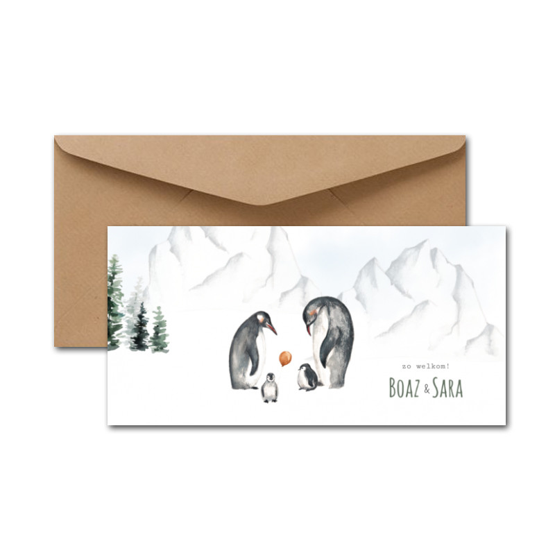 Geboortekaartje Tweeling pinguins sneeuw
