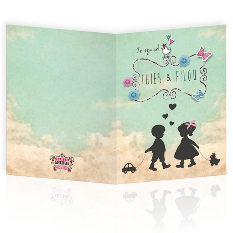 Geboortekaartje Tweeling silhouet