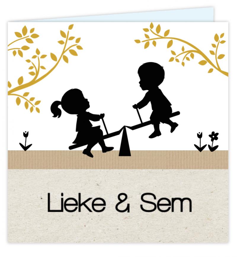 Geboortekaartje Tweelingkaart silhouet