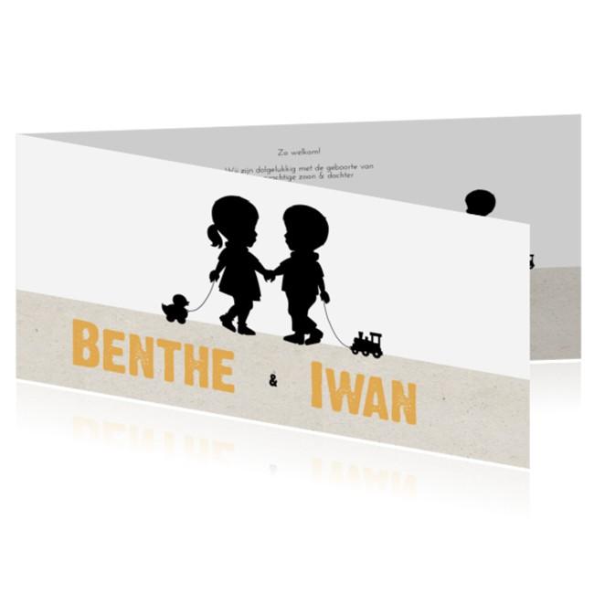 Geboortekaartje Tweelingkaart silhouette