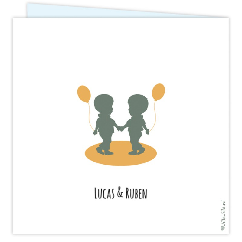 Geboortekaartje Tweelingkaartje jongens
