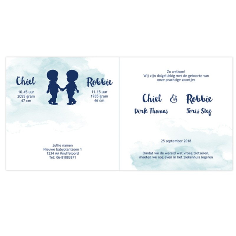 Geboortekaartje Tweelingkaartje silhouet