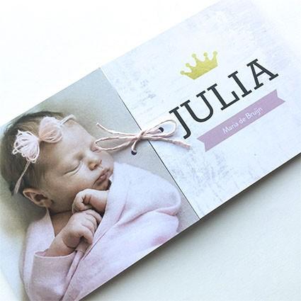 Geboortekaartje Tweeluik met kroon