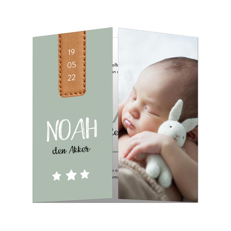 Geboortekaartje Tweeluik met leren label