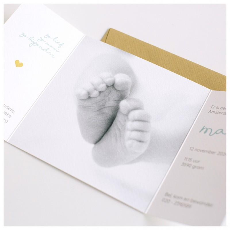 Geboortekaartje Tweeluik voetjes