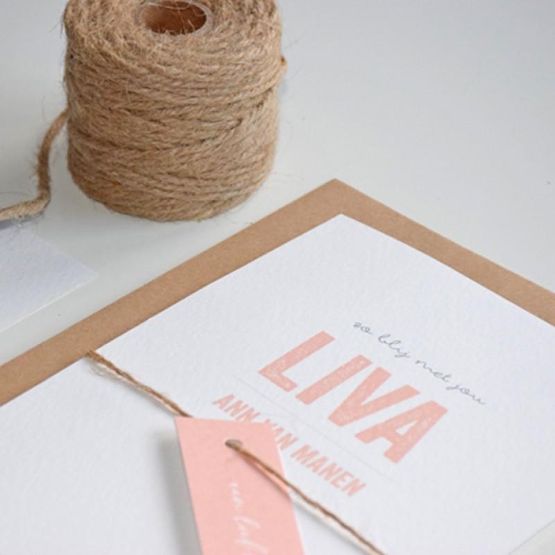 Geboortekaartje Typografie roze