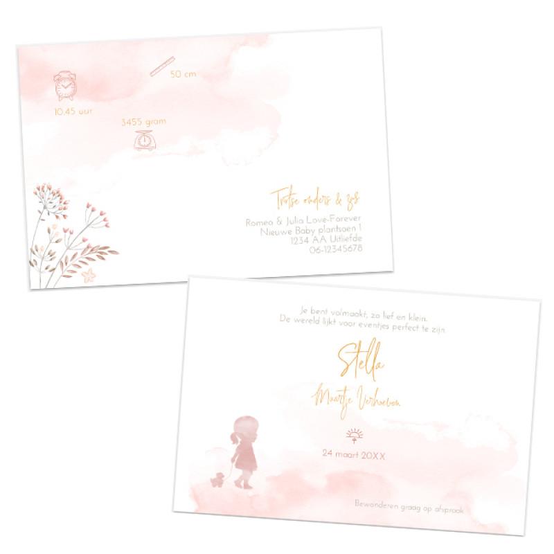 Geboortekaartje Veldbloemen en zusjes