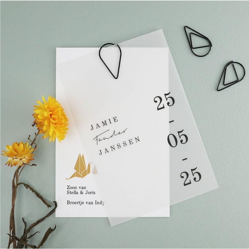 Geboortekaartje Vellum kalkpapier Jamie