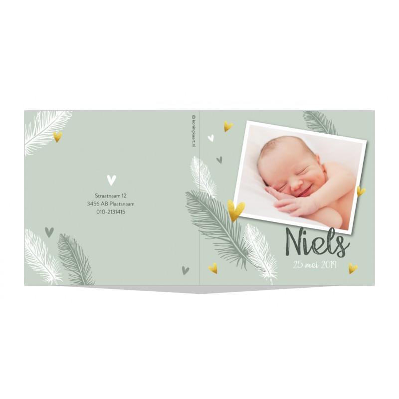 Geboortekaartje Veren en fotokader
