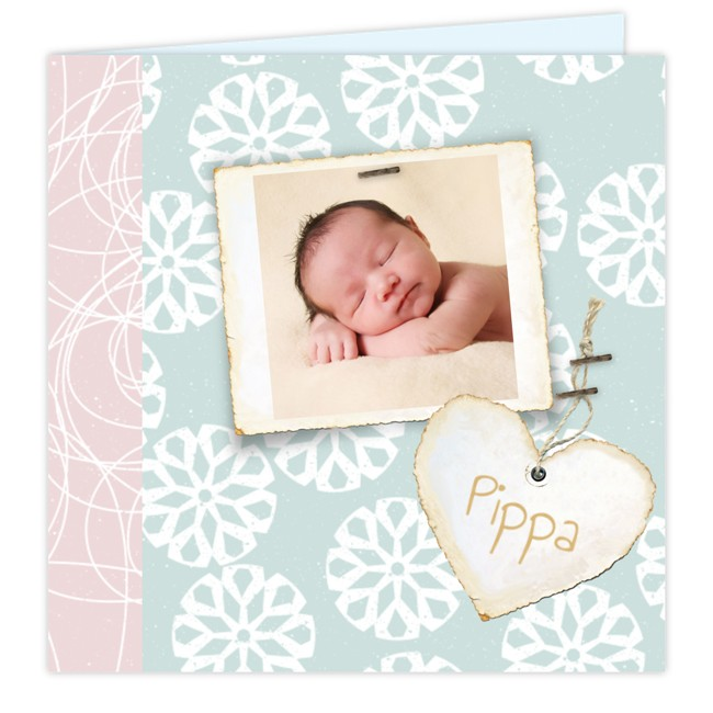 Geboortekaartje Vintage fotokaartje