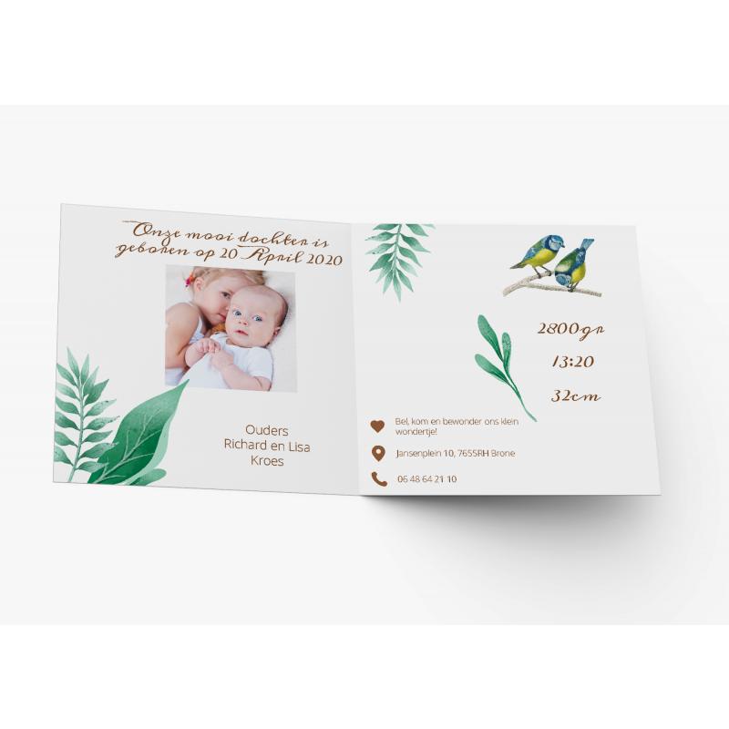 Geboortekaartje Vogel en bladeren met foto