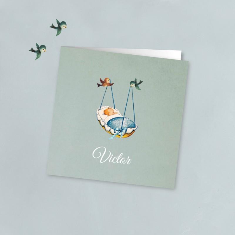 Geboortekaartje Vogels met blauw wiegje