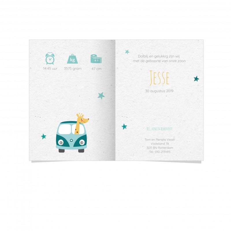 Geboortekaartje VW busje met giraf