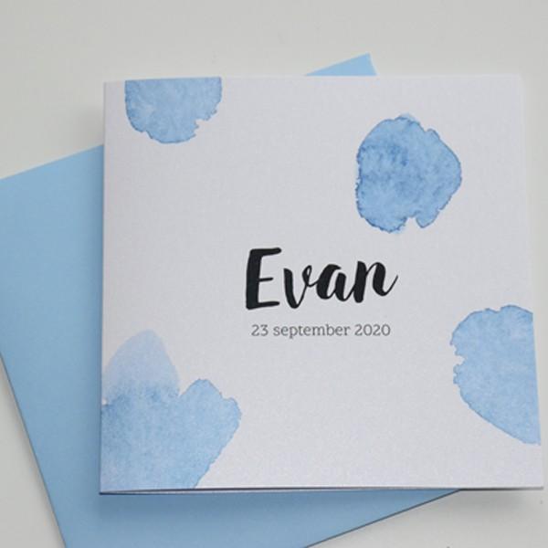 Geboortekaartje Watercolor blauwe vlek