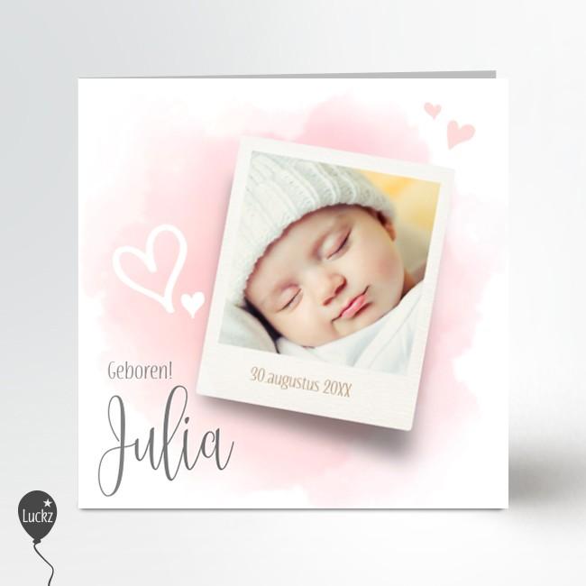 Geboortekaartje watercolor foto roze