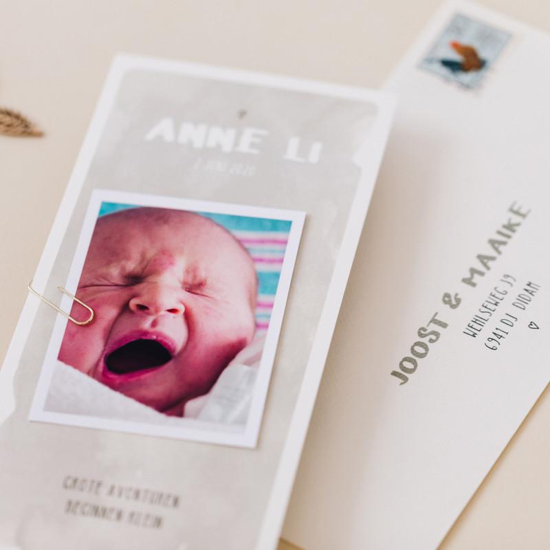 Geboortekaartje Watercolour - Grijs