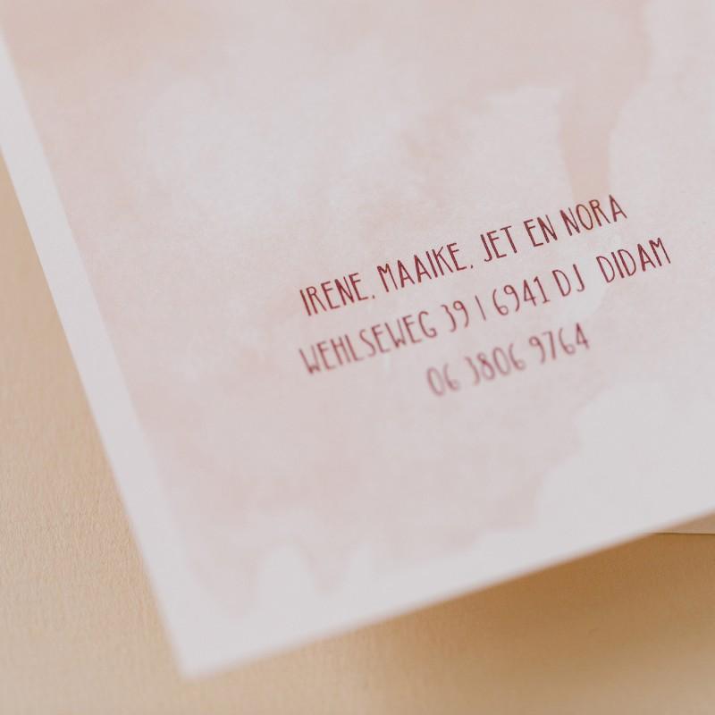 Geboortekaartje Watercolour - Roze