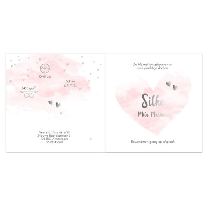 Geboortekaartje Waterverf & foliedruk