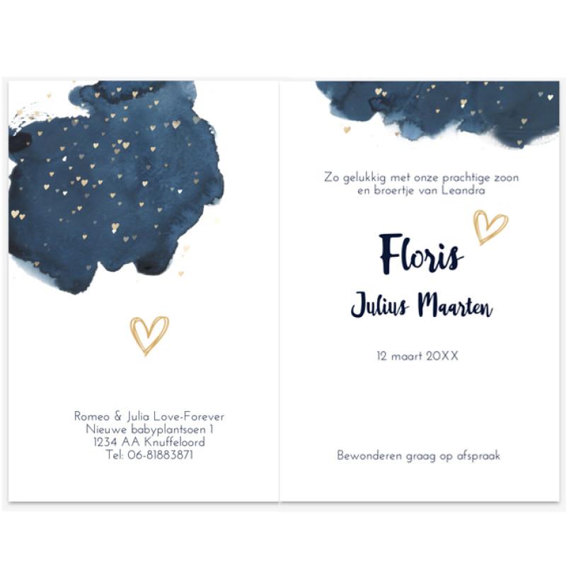 Geboortekaartje Waterverf kaartje confetti