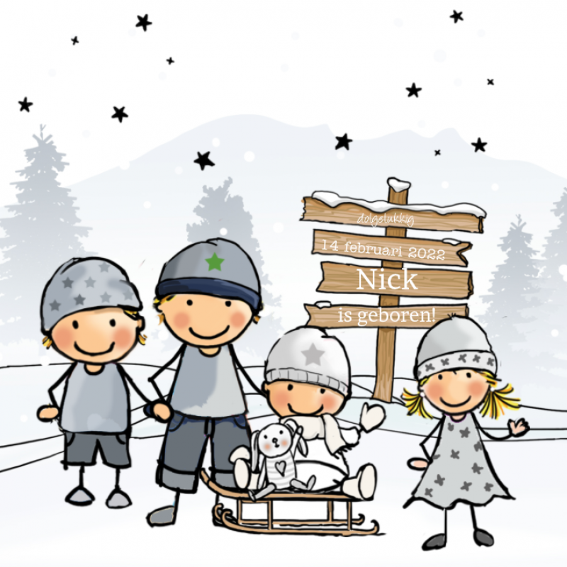 Geboortekaartje winter gezin 4de