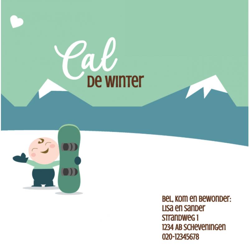 Geboortekaartje Winters geboortekaart SKI