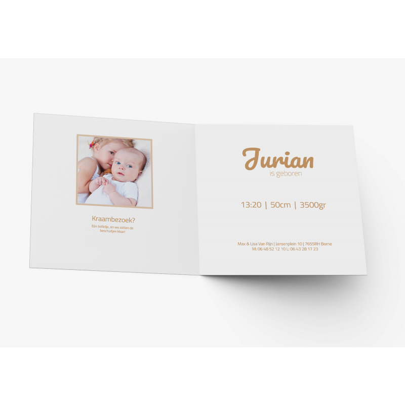 Geboortekaartje Wit met goud en foto