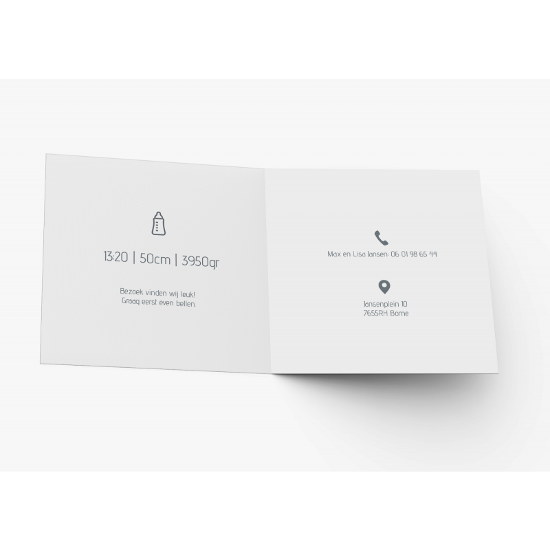 Geboortekaartje Witte kaart met verf