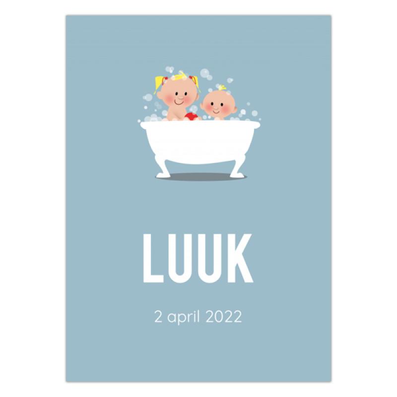 Geboortekaartje Zus en broer in bad