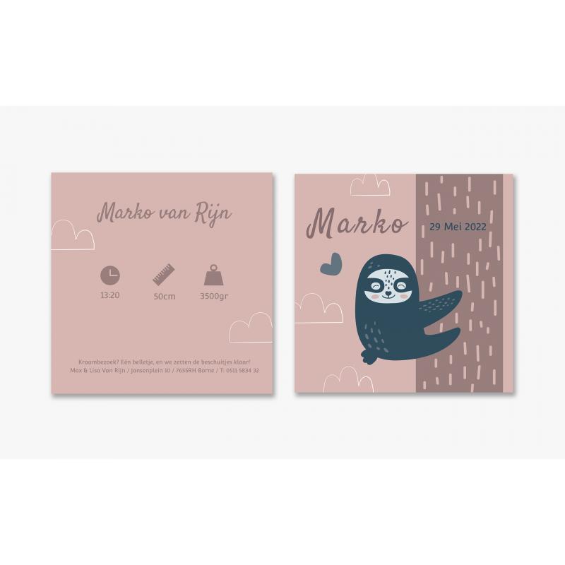 Geboortekaartje Zwarte luiaard