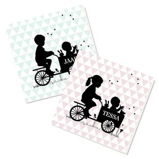 Geboortekaartje 2e kindje: silhouette
