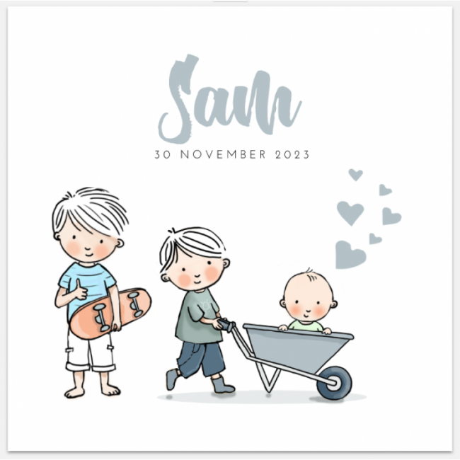 Geboortekaartje 3e kindje getekend