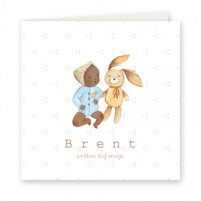 Geboortekaartje Baby en knuffel