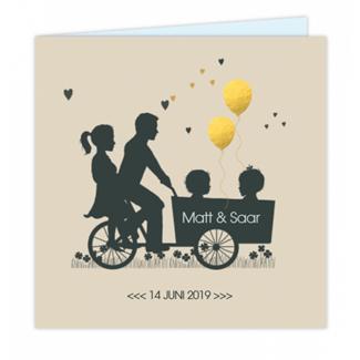 Geboortekaartje Bakfiets met ouders