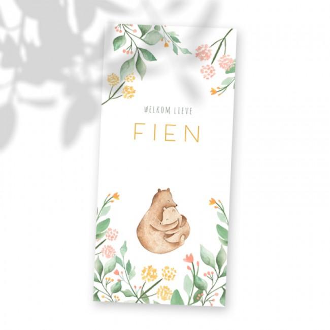 Geboortekaartje Beren en bloemen